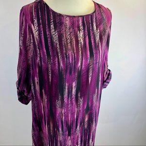 Ulla Popken dress 12/14 sheath purple abstract